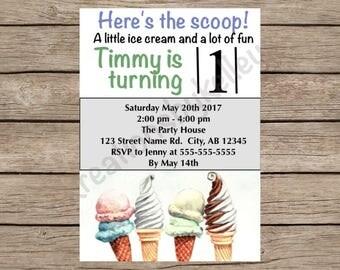Ice Cream Digital birthday invitation