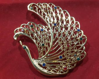 Bird of Paradise Brooch with Red, Green and Blue Rhinestones