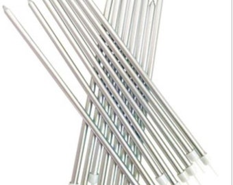 Sliver party candles, tall birthday cake candles, Metallic sliver Tall 18cm Candles 16pk, extra tall birthday cake candles