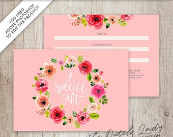 Gift Certificate Card Template - Design #14 - INSTANT DOWNLOAD - Layered .PSD Files