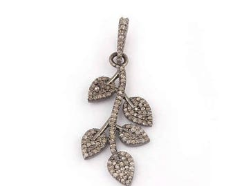 VALENTINE DAY SALE 1 Pc Beautiful Pave Diamond Leaf  925 Sterling Silver Pendant-- Leaf Pendant 32mmx15mm Pd1303