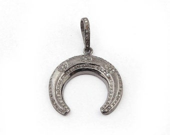 March Sale 1 Piece Beautiful Pave Diamond Crescent Moon Charm Pendant Over 925 Sterling Silver 25mmX24mm Pd1618