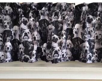 "Dog Puppy Different Breeds black & white Valance Curtain 42"" W x 13"" L"