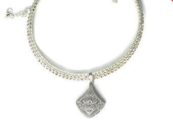 Sale - Christmas in July Bridal Rhinestone Collar Necklace, Bridal Necklace, Silver Rhinestone Necklace, Bridal Collar, Silver Necklace, Bri