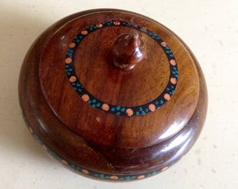 Vintage Round Wooden Trinket Box. Office Tidy. Odds & Ends. Very Ornate. Quite Unusual.