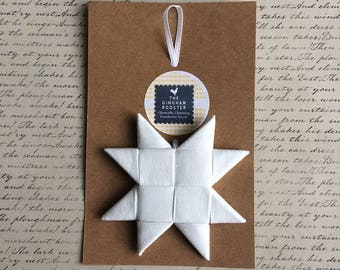 White Fabric Star Ornament Folded Fabric Star Scandinavian Fabric Star