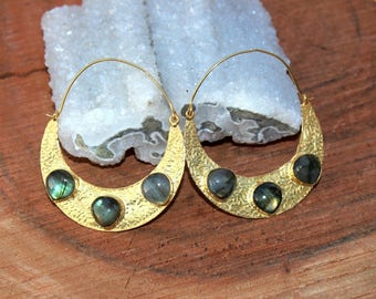 70x53 mm Three Stone Labradorite Hoop Earrings / Labradorite Gemstone Earrings / Labradorite Crescent Moon Hoop Earrings