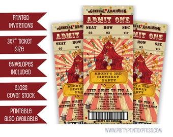 Vintage Circus Ticket Invitation - Circus Invitation - Circus Birthday Ticket Invitation - Circus Ticket - Circus Party Invite - Striped