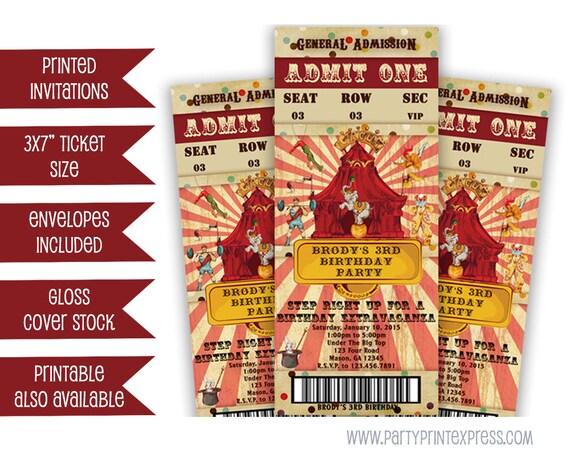 Circus Party Invitation   Vintage Circus Ticket Invitation Circus Invitation Circus