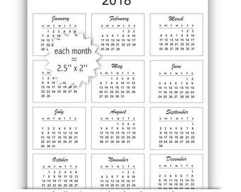 2018 mini calendar cards - instant download - commercial use allowed -printable bullet journal calendar 2018 - US letter size template