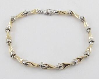 14K Yellow Gold Men's Bracelet, 14k Yellow And White Gold men's Link Bracelet