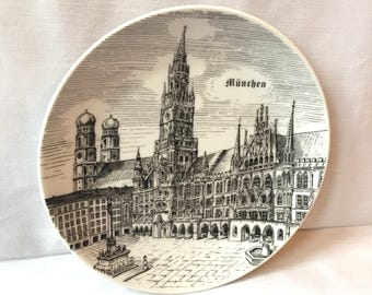 Wall Decor Vintage Munchen Munich Germany Old City in Black and White
