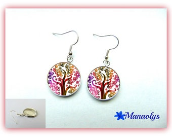 Trees and colorful flowers 986 glass cabochons earrings