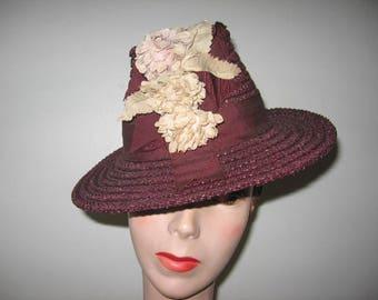 1930's Plum Straw Chimney Tilt Hat!