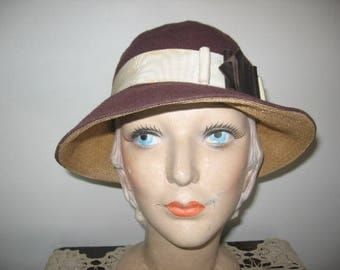 """1930's Brown Wool Slouch Hat! (""""AS IS"""")"""