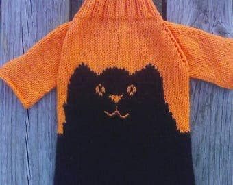 Sphynx Cat Sweater Orange and black Jumper. Knit Cat Pullover. Hairless cat wearing.