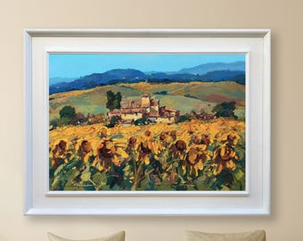 Tuscan Landscape Painting Large Original Painting Landscape Canvas Art Tuscany Framed Art Tuscan Canvas Art Italy Painting Sunflowers Fields