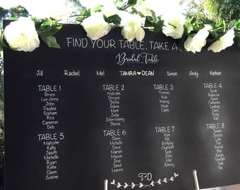 Find your table, take a seat chalkboard | wedding sign | wedding chalkboard | Seating chart | Wedding seating plan | Gust seating chart