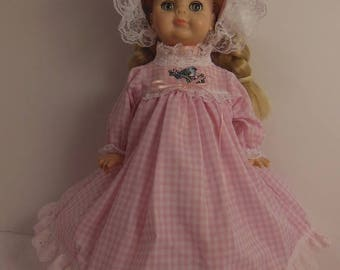 "Pink Gingham Long Dress Set for 14"" Vogue Littlest Angel Dolls"