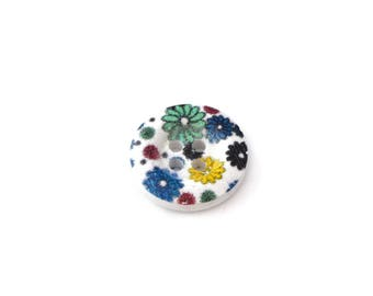 round button 18 mm wooden dark flowers