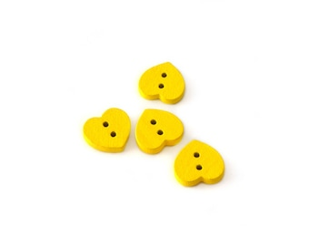4 wooden buttons heart 12mm