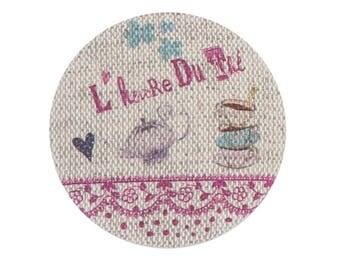 """Linen button """"tea time"""" pink 32 mm"""