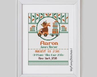 Baby Bear Birth Announcement Cross Stitch pattern, personalized Baby birth details, bear cross stitch pattern, stitch baby birth sampler