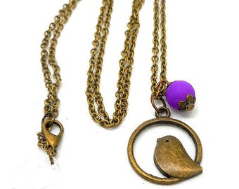 Long bird, Pearl charm necklace purple