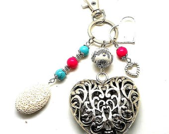 A scent! bag charm or key ring silver, turquoise and pink bead charms and key heart charms