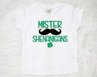 St Patrick's Day Shirt, Mister Shenanigans Shirt, Boy Clothing