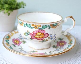 Vintage Elizabethan tea cup and saucer, floral vintage teacup,