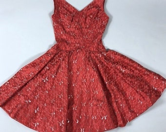 Vintage 50s Red Lace Silver Metallic Fit n Flare Party Cocktail Dress Fits Womens Size XS 0