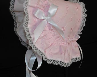 New Handmade Pink Eyelet Victorian Style Extended Back Baby Bonnet