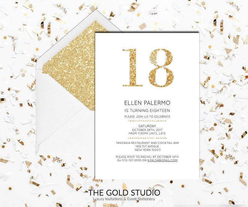 18th Birthday Invitation   White & Gold Glitter modern 18 birthday ...