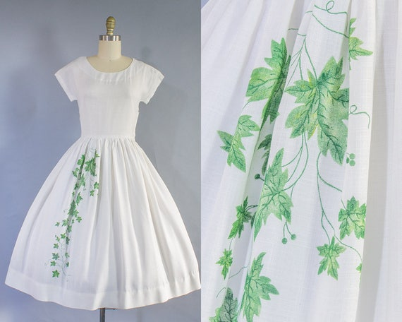 1950s Leaf Print Day Dress/ Small (36B/26W)