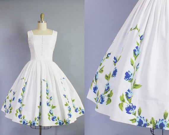 1950s Blue Rose Cotton Pique Sundress | Small (34B/26W)