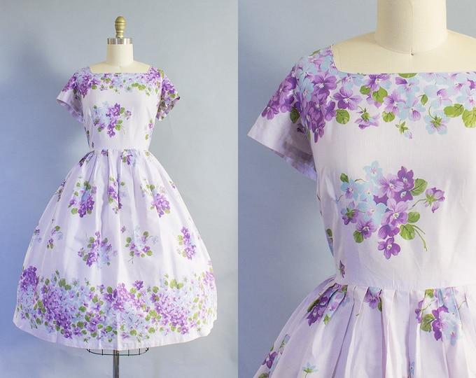 1950s Purple Floral Dress/ Medium/ Large (38B/30W)