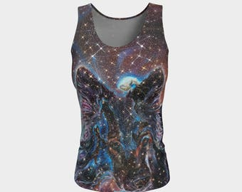 Long Canis Major Fitted Tank Top, Athletic Wear, Space, Stars, Constellation, Art, Painting, Mystical, Geometric, Nebula, Wolf, Great Dog