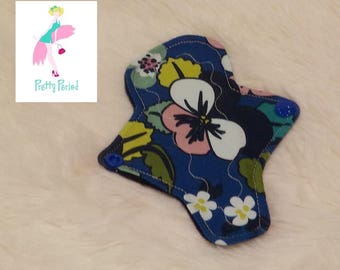 """6"""" Thong Liner Floral Jersey CSP Cloth pad (2"""" snapped) thin discrete fleece back daily liner"""