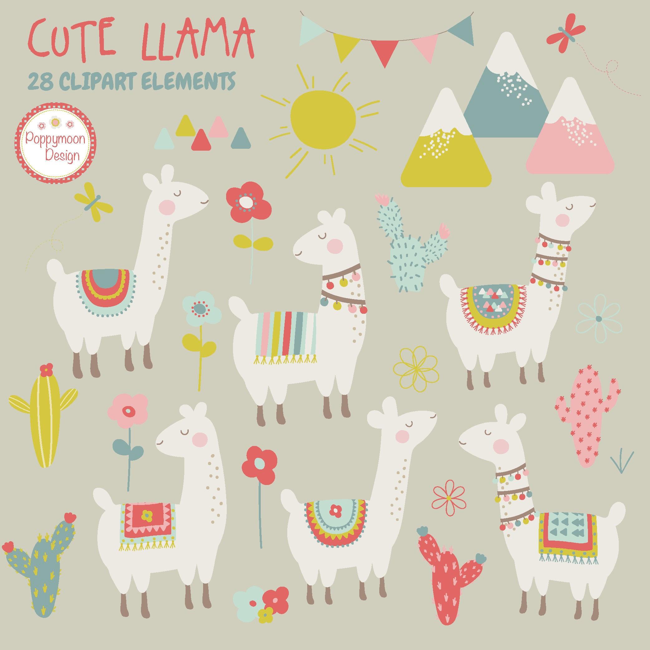 Cute llamas cactus and mountains printable digital clipart