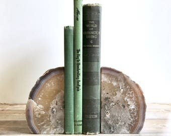 Agate Bookends Geode Bookends - Natural Gray and Brown