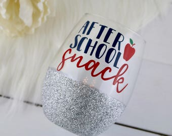 After School Snack Wine Glass-teacher gift-wine glass- funny wine glass-teacher appreciation-gift for teacher-end of the year gift