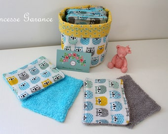 12 wipes washable, cotton small owls, sponge, round basket, to order