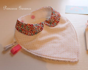 Birth, teething * bandana bib, cotton, Liberty Eloise squash, Peter Pan collar, sponge, to order