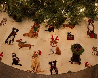 Christmas Tree Skirt-Red-Cream-Dogs-Boxer-Dachshund-Bulldog-Black Lab-Yellow Lab-Black Cat-Border Collie-Wreath-Santa Claus-Irish Setter