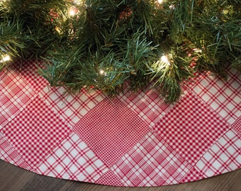 Country Christmas Tree Skirt-Red Tree Skirt-Plaid Tree Skirt-Quilt Tree Skirt-Primitive Tree Skirt-Primitive Decor-Country Decor-36""