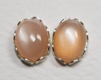 Peach Moonstone Earrings, 925 Sterling Silver, 8 by 6 m Oval Cab, Natural Moonstone