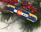 Colorado Flag Snowboard Christmas Ornament, Personalized gift for snowboarder,custom snowboarding  ornament