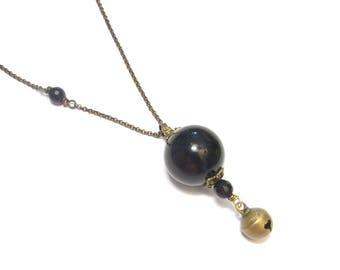 Pregnancy - harmony ball necklace - ethnic natural stones, Onyx jewelry