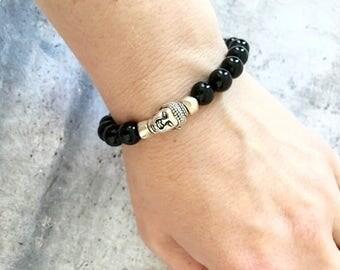 Black Onyx Buddha Protection Bracelet, Protection Bracelet, Boho Bracelet,Unisex Bracelets, Gemstone Bracelet, Crazy Lace Agate Bracelet
